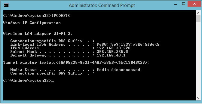 IPconfig- command prompt code