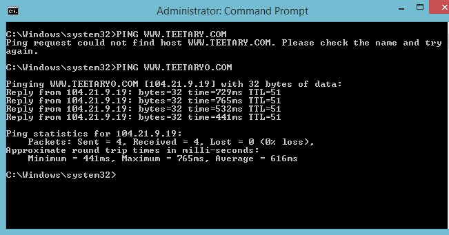 PING - command prompt code