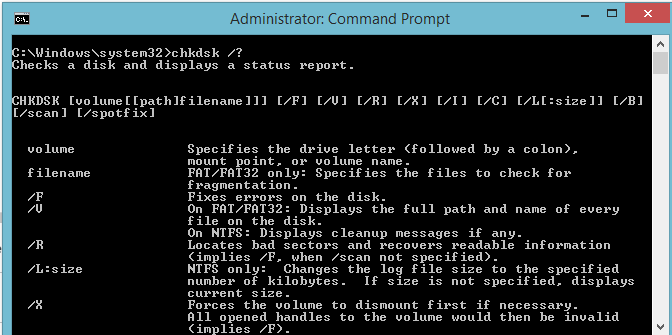 chkdsk-command prompt code