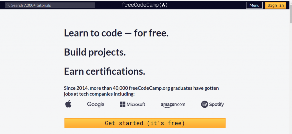 freecodecamp online learning