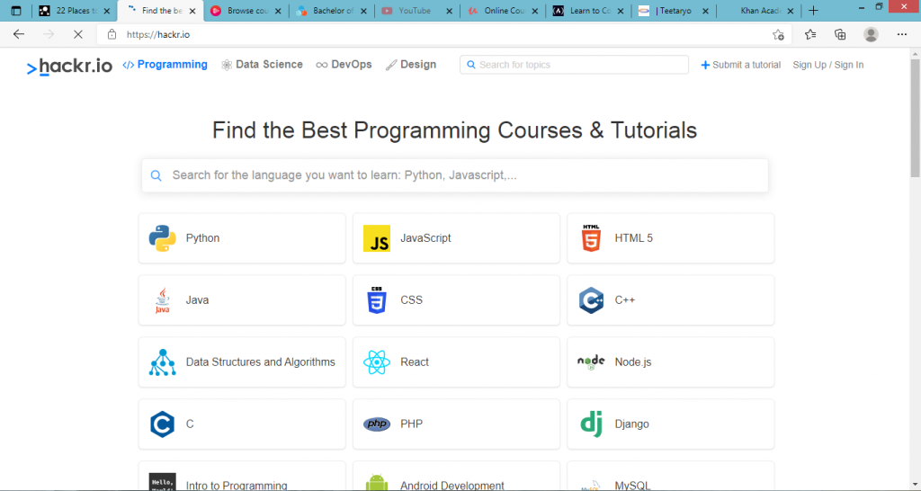 how to learn coding for free online- hackr.io